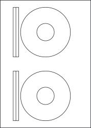 CD Labels & DVD Labels, 2 Per Sheet, 116mm Diameter, LPCD116