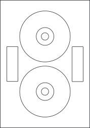 CD Labels & DVD Labels, 2 Per Sheet, 118mm Diameter, LPCD118N