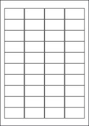 Coloured Paper Labels, 40 Per Sheet, 45.7 x 25.4mm, LP40/45 C