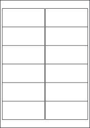 Gloss Waterproof Labels, 12 Per Sheet, 99.1 x 42.3mm, LP12/99 GWP