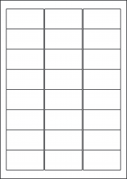 Gloss Waterproof Labels, 24 Per Sheet, 63.5 x 33.9mm, LP24/63 GWP