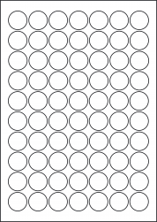 Laser Silver Labels, 70 Round Labels 25mm Diameter, LP70/25R LS