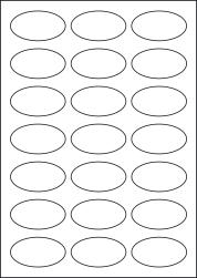 Oval Coloured Paper Labels, 21 Per Sheet, 60 x 34mm, LP21/60OV C