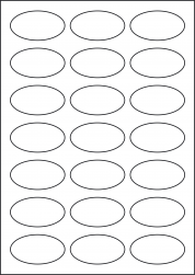 Oval High Tack Paper Labels, 21 Ovals, 60 x 34mm, LP21/60OV HT