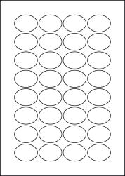 Oval Laser Silver Labels, 32 Per Sheet, 40 x 30mm, LP32/40OV LS