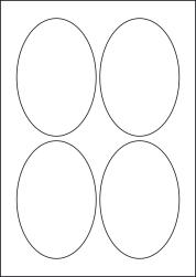 Oval Laser Silver Labels, 4 Per Sheet, 90 x 135mm, LP4/90OV LS