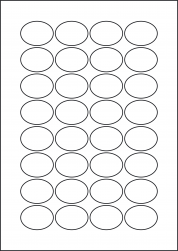 Oval Red Labels, 32 Per Sheet, 40 x 30mm