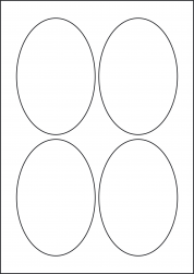 Oval Yellow Labels, 4 Per Sheet, 90 x 135mm