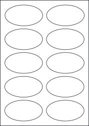Paper Labels, 10 Oval Labels Per Sheet, 95 x 53mm, LP10/95OV