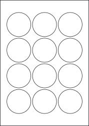 Paper Labels, 12 Round Labels Per Sheet, 57mm Diameter, LP12/57R