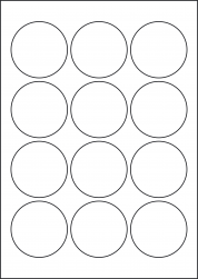 Paper Labels, 12 Round Labels Per Sheet, 60mm Diameter, LP12/60R