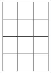 Paper Labels, 12 White Labels Per Sheet, 63.5 x 72mm, LP12/63
