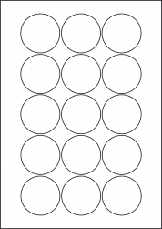 Paper Labels, 15 Round Labels Per Sheet, 51mm Diameter, LP15/51R