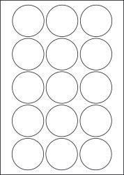 Paper Labels, 15 Round Labels Per Sheet, 54mm Diameter, LP15/54R