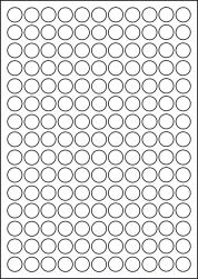 Paper Labels, 165 Round Labels Per Sheet, 16mm Diameter, LP165/16R