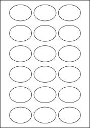 Paper Labels, 18 Oval Labels Per Sheet, 55 x 40mm, LP18/55OV