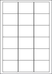Paper Labels, 18 White Labels Per Sheet, 63.5 x 46.6mm, LP18/63