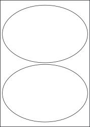 Paper Labels, 2 Oval Labels Per Sheet, 195 x 138mm, LP2/195OV