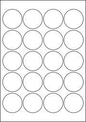 Paper Labels, 20 Round Labels Per Sheet, 48mm Diameter, LP20/48R