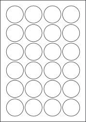Paper Labels, 24 Round Labels Per Sheet, 42mm Diameter, LP24/42R