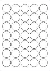 Paper Labels, 35 Round Labels Per Sheet, 35mm Diameter, LP35/35R