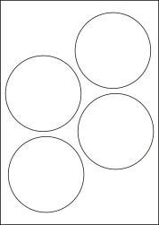Paper Labels, 4 Round Labels Per Sheet, 100mm Diameter, LP4/100R