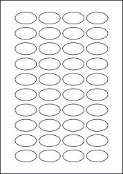 Paper Labels, 40 Oval Labels Per Sheet, 41 x 24mm, LP40/41OV