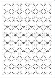 Paper Labels, 54 Round Labels Per Sheet, 27mm Diameter, LP54/27R