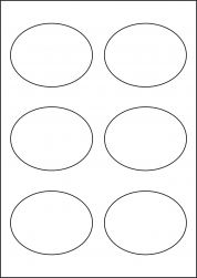 Paper Labels, 6 Oval Labels Per Sheet, 92 x 76mm, LP6/92OV
