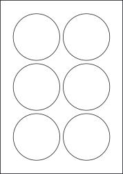 Paper Labels, 6 Round Labels Per Sheet, 80mm Diameter, LP6/80R