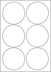 Paper Labels, 6 Round Labels Per Sheet, 92mm Diameter, LP6/92R