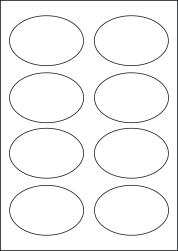 Paper Labels, 8 Oval Labels Per Sheet, 90 x 62mm, LP8/90OV