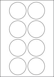 Paper Labels, 8 Round Labels Per Sheet, 66mm Diameter, LP8/66R