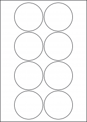 Paper Labels, 8 Round Labels Per Sheet, 69mm Diameter, LP8/69R