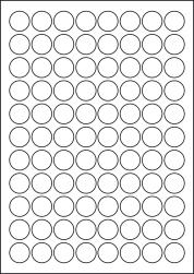 Paper Labels, 88 Round Labels Per Sheet, 22mm Diameter, LP88/22R