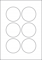 Removable Labels, 6 Round Labels, 72mm Diameter, LP6/72R REM