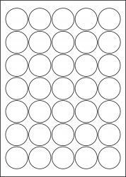 Round Blue Labels, 35 Per Sheet, 37mm Diameter