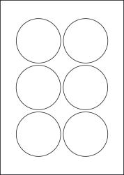 Round Blue Labels, 6 Per Sheet, 76mm Diameter