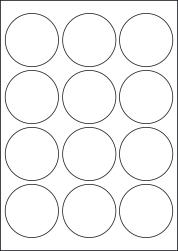 Round Coloured Labels, 12 Per Sheet, 63.5mm Diameter, LP12/64R C