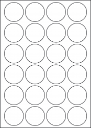 Round Coloured Labels, 24 Per Sheet, 45mm Diameter, LP24/45R C