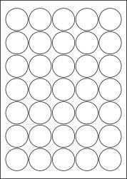 Round Coloured Labels, 35 Per Sheet, 37mm Diameter, LP35/37R C