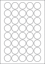 Round Coloured Labels, 40 Per Sheet, 32mm Diameter, LP40/32R C