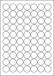 Round Coloured Labels, 70 Per Sheet, 25mm Diameter, LP70/25R C