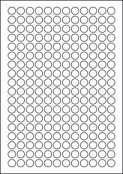 Round Green Labels, 216 Per Sheet, 13mm Diameter