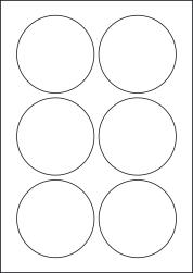 Round Orange Labels, 6 Per Sheet, 85mm Diameter