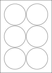 Round Orange Labels, 6 Per Sheet, 88mm Diameter