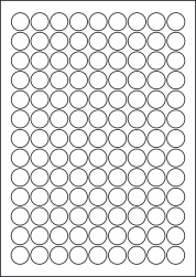 Round Orange Red Labels, 117 Per Sheet, 19mm Diameter