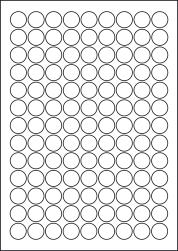 Round Yellow Labels, 117 Per Sheet, 19mm Diameter