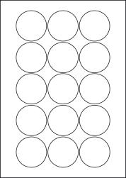 Round Yellow Labels, 15 Per Sheet, 51mm Diameter