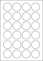 Round Yellow Labels, 24 Per Sheet, 40mm Diameter